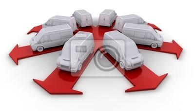 Obraz Białe samochody dostawcze na strzałki