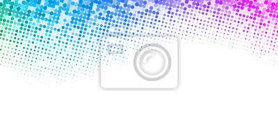 Obraz Białe tło z kolorowych przerywaną półtonów wzór.