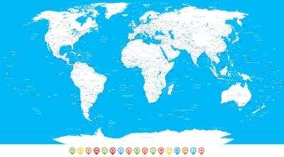 Obraz Białe world map i nawigacji ikony - ilustracji.