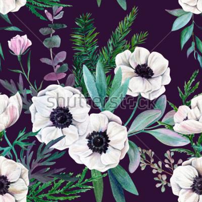 Obraz Białe zawilce i liście na fioletowym tle. Akwarela bezszwowe wzór, pełny kolor, ręcznie rysowane ilustracja.