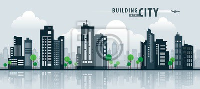 Obraz Biały budynek w mieście, perspektywy wieżowca. Architektura wektor.