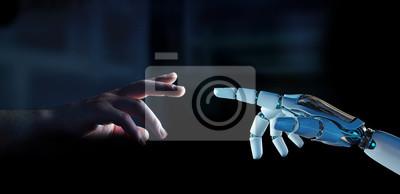 Obraz Biały cyborga palec wokoło dotykać ludzkiego palca 3D rendering