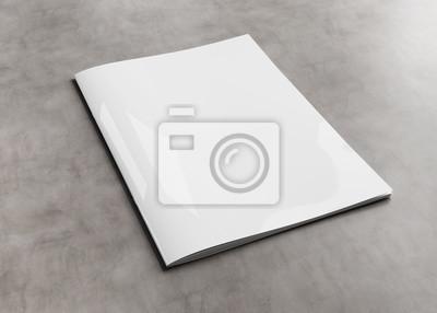 Obraz Biały okładka magazynu makieta na betonowym renderingu 3d