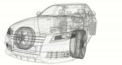 Obraz biały samochód