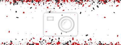 Obraz Biały sztandar uroczysty z konfetti papieru czerwonego i czarnego.