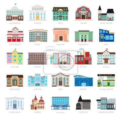 Obraz Biblioteka Miejska i banku miasta, szpital i szkoła zestaw ikon wektorowych. Kolorowe ikony Rząd budowa miejskiego