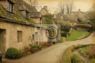 Bibury . Anglia, Wielka Brytania . Zdjęcia w stylu retro . Tekstury papieru .