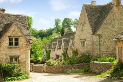 Bibury. Tradycyjne domki Cotswold w Anglii, Wielkiej Brytanii.