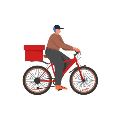 Bicycle food delivery services, vector flat isolated illustration