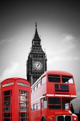 Obraz Big Ben w Londynie mit roter Telefonzelle und Bus