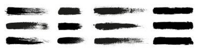 Obraz Big collection of grunge black paint, ink brush strokes. Brushes, lines, brush, strokes, grunge, dirty, backdrop. Grunge backgrounds set - stock vector.