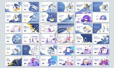 Obraz Big Collection of Modern design website template, Set of web page design templates for business, management app, consulting, social media marketing. Modern vector illustration concepts