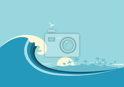 Obraz Big fal oceanicznych i tropikalnych island.Vector niebieskie tło