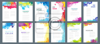 Obraz Big set of A4 bright vector colorful watercolor background templates for poster, brochure or flyer