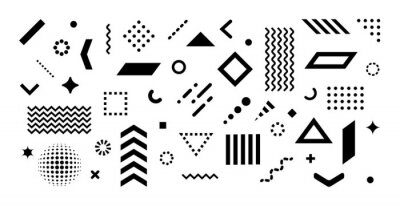 Obraz Big set of abstract vector geometric shapes and trendy design elements for illustrations on white background. Editable stroke. Use for web, sites, print, mobile apps