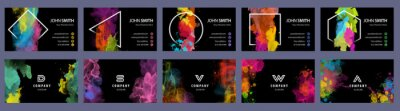 Obraz Big set of bright colorful business card template with vector watercolor black background