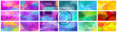 Obraz Big set of bright colorful watercolor background textures
