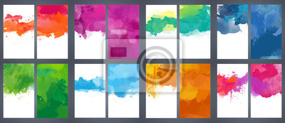 Obraz Big set of bright vector colorful watercolor background for poster, brochure or flyer