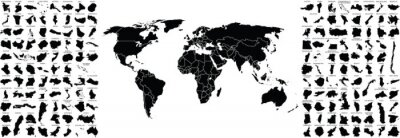 Obraz big set of countries maps and world map with countries borders