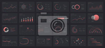 Big set of infographics on a dark background. Use in presentation templates, mobile app and corporate report. Dashboard UI with big data visualization.