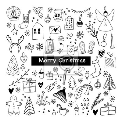 Big set of New Year and Xmas icons. Cute hand drawn vector illustration. Winter elements  for greeting cards, posters, stickers and seasonal design.  Isolated on white background