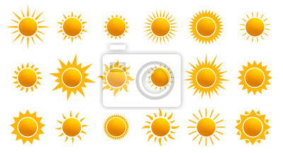 Obraz Big set of realistic sun icon for weather design. Sun pictogram, flat icon. Trendy summer symbol for website design, web button, mobile app. Template vector illustration. Isolated on white background.