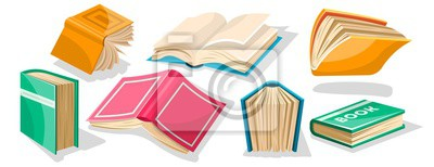 Obraz Big set with red, yellow, green, blue opened and closed textbooks, business diaries, workbooks in different positions. World book and copyright day concept. Vector cartoon icons on white.
