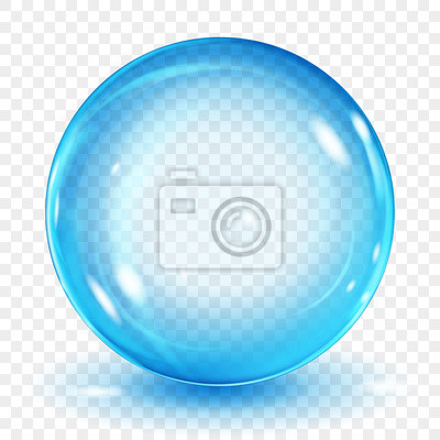 Obraz Big translucent light blue sphere with glares and shadow on transparent background. Transparency only in vector format