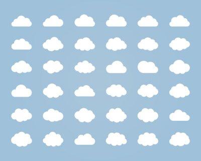 Obraz Big wektor zestaw trzydziestu sześciu białych kształtów chmur