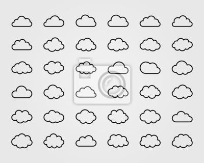 Obraz Big wektor zestaw trzydziestu sześciu kształty chmur