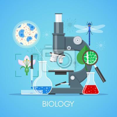 Biologia pedagogika Pojęcie wektora plakat płaska stylu. Szkoła sprzęt laboratoryjny