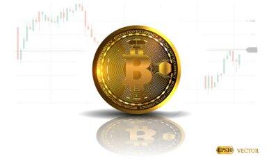 Bitcoin. Fizyczna bitowa moneta. Cyfrowa waluta. Kryptowaluta. Złota moneta z bitcoin symbolem odizolowywającym na białym tle