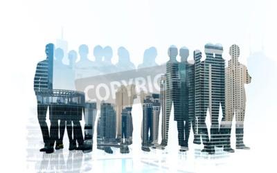 Obraz biznes, praca zespołowa i ludzie pojęcie - ludzie biznesu sylwetek nad miasta tłem z dwoistym ujawnienie skutkiem