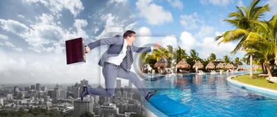 Obraz Biznesmen skoków na wodzie.