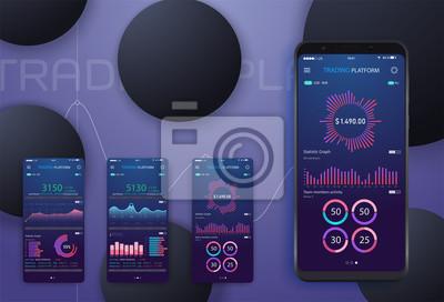 Biznesowa trend analiza na smartphone ekranie z wykresami, perspektywiczny płaski projekt infographic na barwionym tle. Telefon komórkowy z promieniowej pasztetowej mapy diagrama konceptualną wektorow