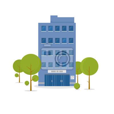 Obraz Biznesowy budynek w zielonej odtwarzanie parkowej strefie. Biuro w centrum miasta z tablicą i duże centralne wejście i zielone drzewa w pobliżu budynku. Koncepcja architektury miejskiej. Ilustracja we