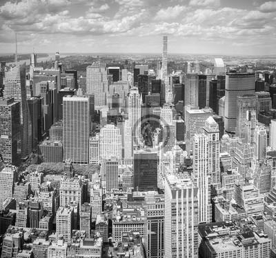 Obraz Black and white aerial view Manhattan, New York City, USA.