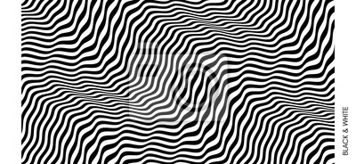Obraz Black and white design. Pattern with optical illusion. Abstract 3D geometrical background. Vector illustration.