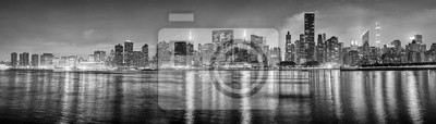 Obraz Black and white New York City panorama at night, USA.