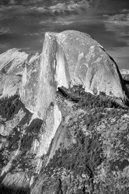 Black and white picture of Half Dome, California, USA.