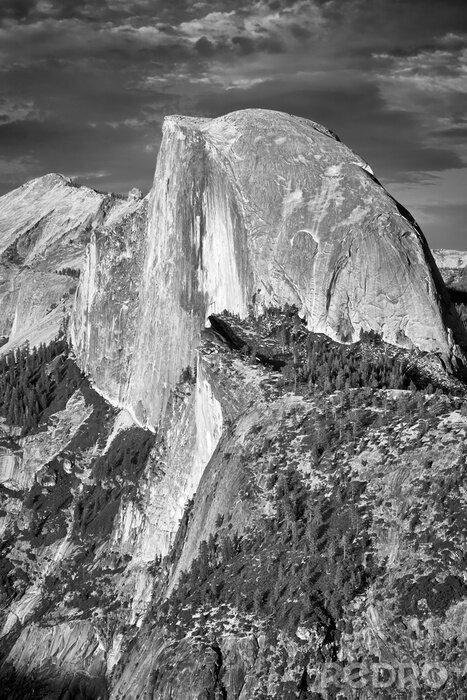 Obraz Black and white picture of Half Dome, California, USA.
