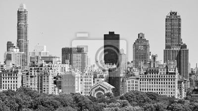 Black and white picture of Manhattan Upper East Side by the Central Park, New York, USA.