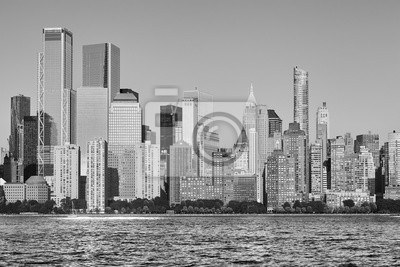 Obraz Black and white picture of New York City skyline at sunset, USA.