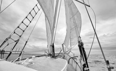 Black and white picture of old schooner at sea.