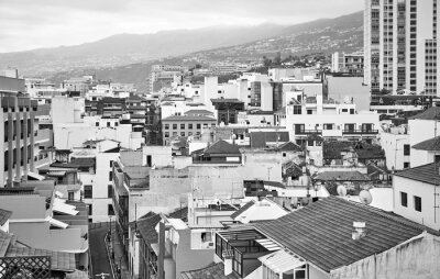 Black and white picture of Puerto de la Cruz, Tenerife, Canary Islands, Spain.