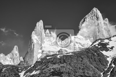 Black and white picture of the Fitz Roy Mountain Range, Los Glaciares National Park, Argentina.