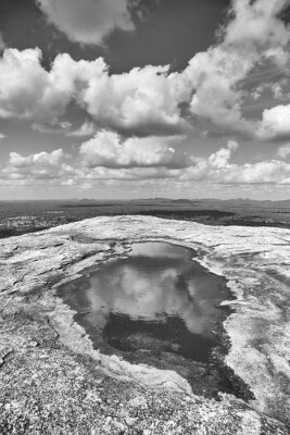 Black and white picture of the top of Pidurangala Rock, Sri Lanka.