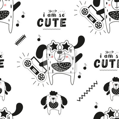 Black and white seamless pattern with cool dogs and music theme in Scandinavian style. Vector Illustration. Kids illustration for nursery art. Great for baby clothes, greeting card, wrapping paper.