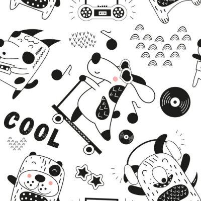 Black and white seamless pattern with funny dogs and music theme in Scandinavian style. Vector Illustration. Kids illustration for nursery art. Great for baby clothes, greeting card, wrapping paper.