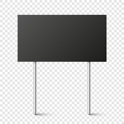 Obraz Black blank board with place for text, protest sign isolated on transparent background. Realistic demonstration or advertising banner. Strike action cardboard placard mockup. Vector illustration.